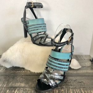JASON WU PYTHON Snakeskin-Trimmed HEEL Sandals
